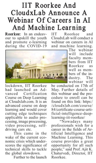 Date: 9th May 2020 Publication: The Hawk Edition: Roorkee Page: 05 Language: English